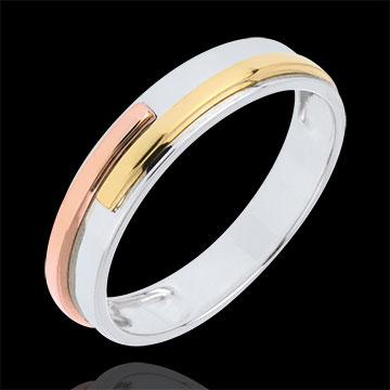Fede nuziale Titano - Oro bianco, Oro rosa e Oro giallo - 9 carati