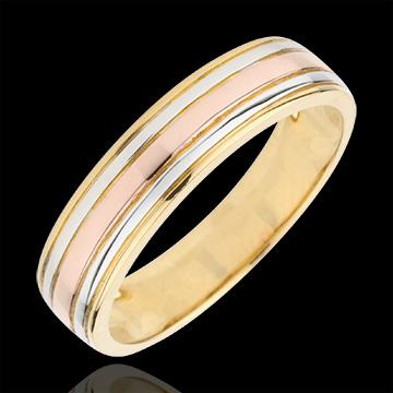 Fede nuziale Tricolore Ulisse - Oro bianco e Oro giallo - 9 carati