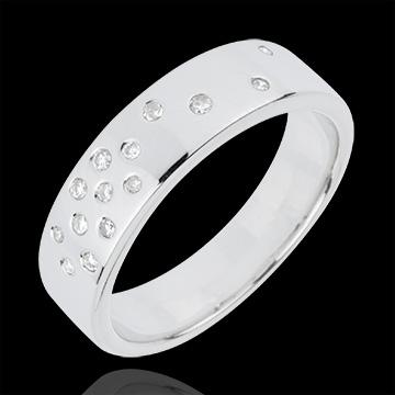 Fede nuziale - Notte stellata - Oro bianco - 18 carati - 14 Diamanti - 0.10 carati