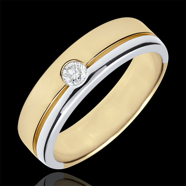 Fede Olympia Diamante - modello grande - Oro bianco e Oro giallo - 9 carati - Diamante - 0.15 carati