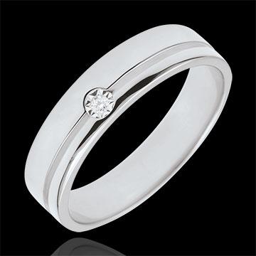 Fede Olympia Diamante - modello medio - Oro bianco - 9 carati - Diamante