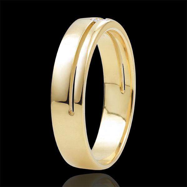 Fede Olympia Diamante - modello medio - Oro giallo - 9 carati - Diamante