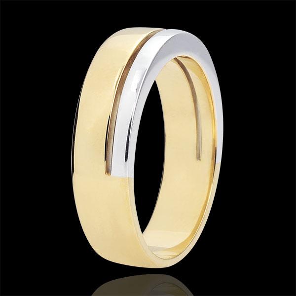 Fede Olympia - modello grande - Oro bianco e Oro giallo - 18 carati