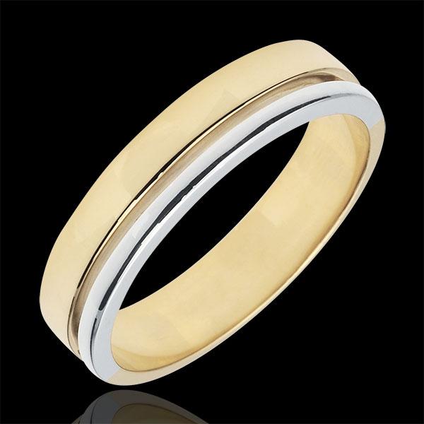 Fede Olympia - modello medio - Oro bianco e Oro giallo - 18 carati