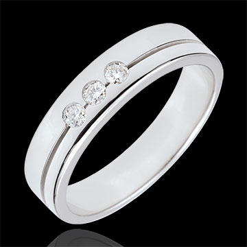 Fede Olympia Trilogy - modello medio - Oro bianco - 18 carati - 3 Diamanti
