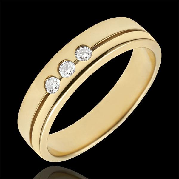 Fede Olympia Trilogy - modello medio - Oro giallo - 9 carati - 3 Diamanti
