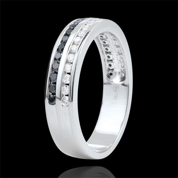 Fede oro bianco diamanti bianchi e diamanti neri semi pavée - incastonato rotaia 2 file - 0.32 carati - 32 diamanti