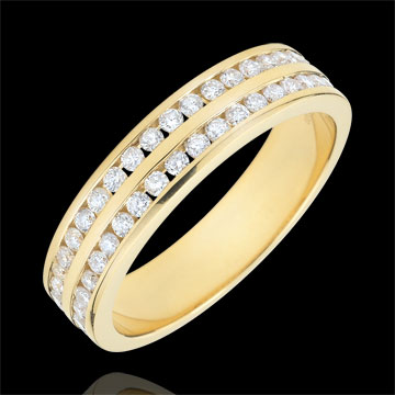 Fede oro giallo semi pavée - incastonato rotaia 2 file - 0.32 carati - 32 diamanti