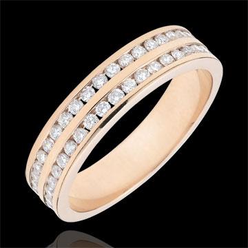 Fede oro rosa semi pavée - incastonato rotaia 2 file - 0.32 carati - 32 diamanti