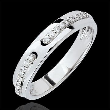 Fede Promessa - modello grande - Oro bianco - 18 carati - Diamanti