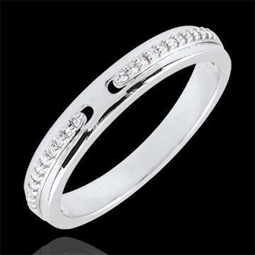 Fede Promessa - modello piccolo - Oro bianco - 18 carati - Diamanti