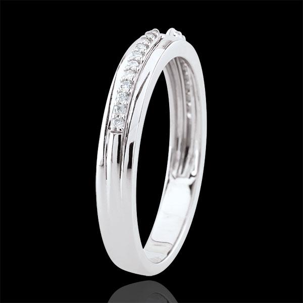 Fede Promessa - modello piccolo - Oro bianco - 9 carati - Diamanti
