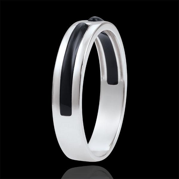Fede Promessa - Oro bianco - 9 carati - Lacca nera - 5 mm