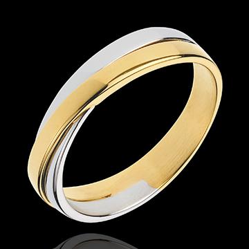 Fede Saturno Duetto - Oro giallo e Oro bianco - 18 carati