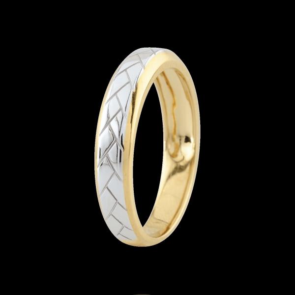 Fede Tessitura - Oro bianco e Oro giallo - 18 carati