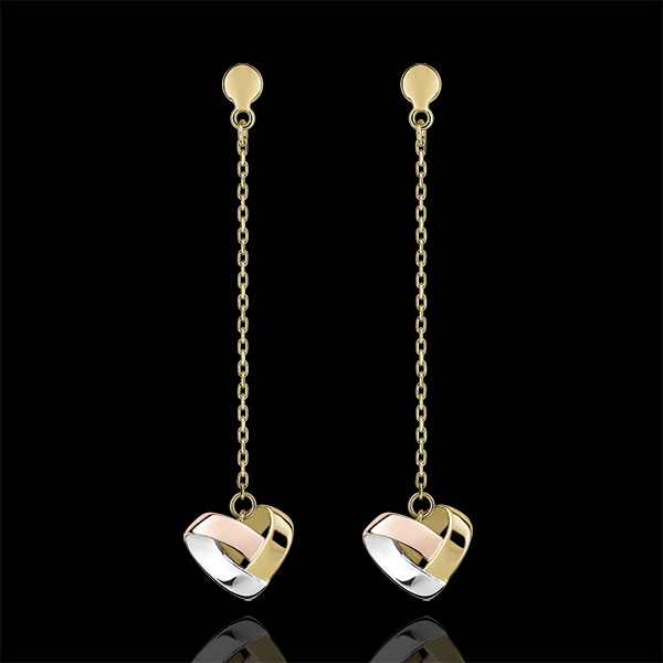 Folding Heart Drop Earrings - 3 golds