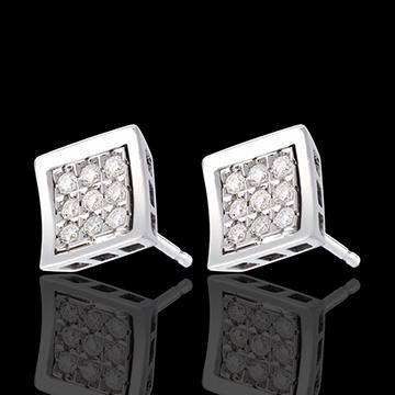 Frame Stud Earrings - paved white gold - 0.27 carat - 18 diamonds