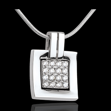 Framed diamond pendant white gold paved - 0.24 carat - 16 diamonds