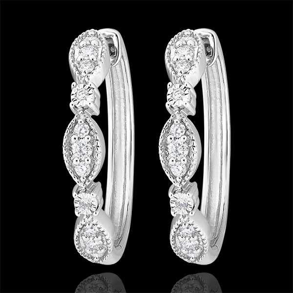 Freshness hoop earrings - Petites Pampilles - white gold 9 carats and diamonds