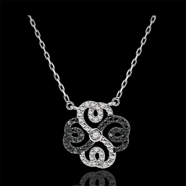 Freshness Necklace - Clover Arabesque - white gold black and white diamonds diamonds