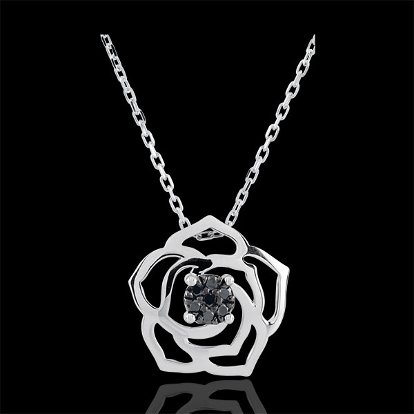 Freshness Necklace - Rose Absolute - white gold and black diamonds - 9 carat