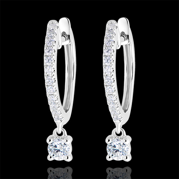 Freshness semi-paved hoop earrings - Petite Pampille - white gold 9 carats and diamonds