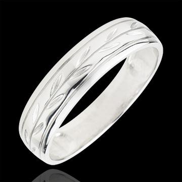 Freshness wedding ring - Palm variation engraved white gold - 9 carat