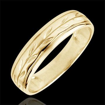 Freshness wedding ring - Palm variation engraved yellow gold - 9 carat