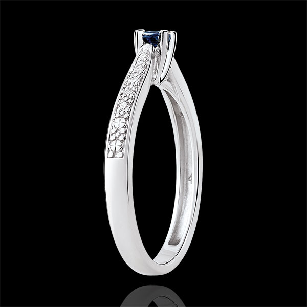 Garlane Solitaire Ring set with 4 claws - 0.14 carat sapphire and diamonds - white gold 18 carats