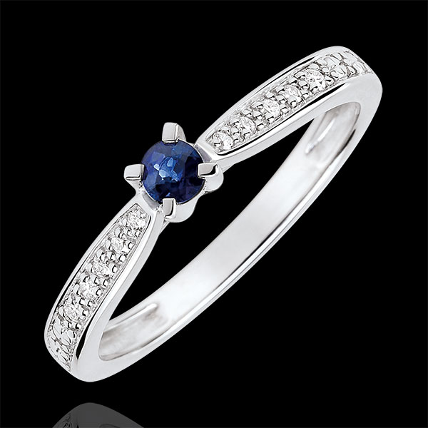 Garlane Solitaire Ring set with 4 claws - 0.14 carat sapphire and diamonds - white gold 9 carats