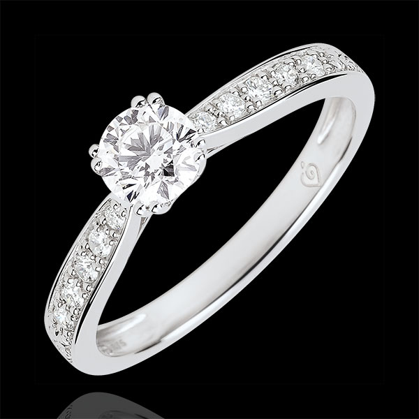 Garlane Solitaire Ring with 8 claws - 0.4 carat diamond - white gold 18 carats
