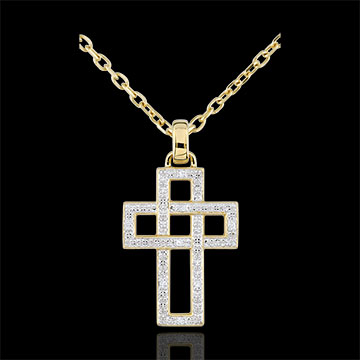 Geometric Diamond Cross Pendant