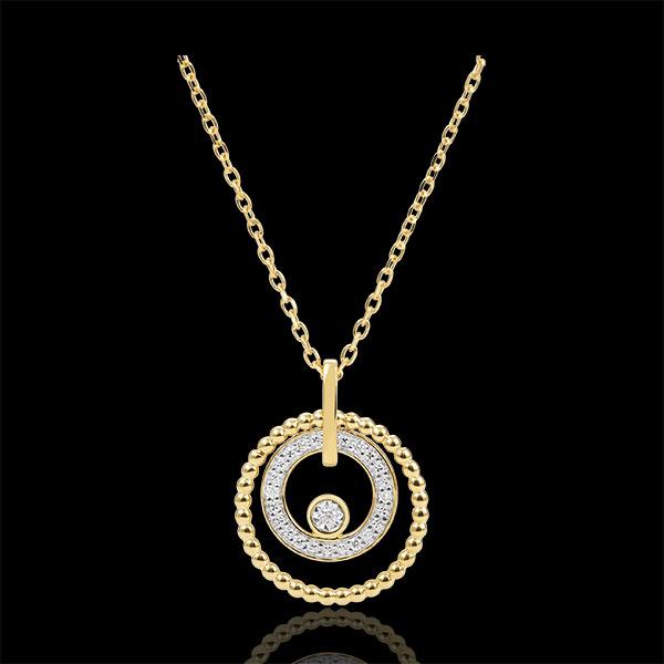 Gouden halsketting en Diamanten - Fleur de Sel - Cirkel - 18 karaat geelgoud