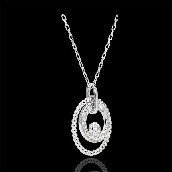 Gouden halsketting en Diamanten - Fleur de Sel- Cirkel - 9 karaat witgoud