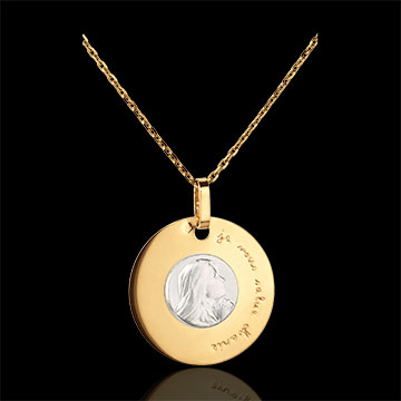 Grawerowany medalik z Matką Boską 18mm - złoto białe i złoto żółte 18-karatowe