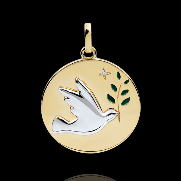 Green Lacquer Dove with Branch Medal with 1 diamond - 18ct