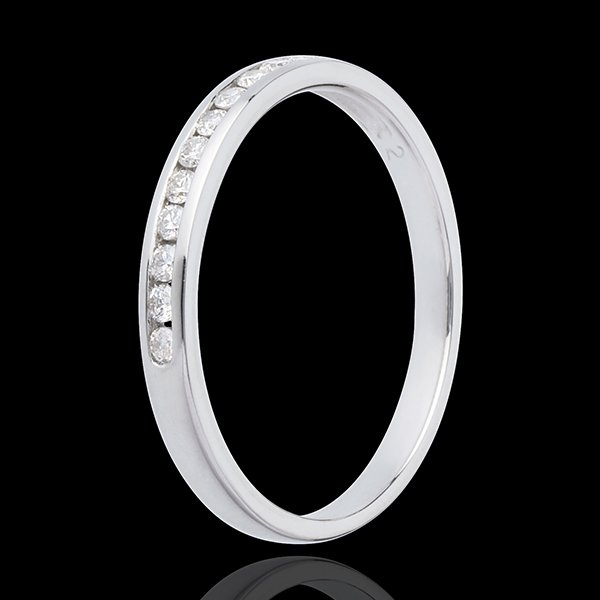 Half eternity ring white gold paved-channel setting - 11 diamonds : 0.15 carat
