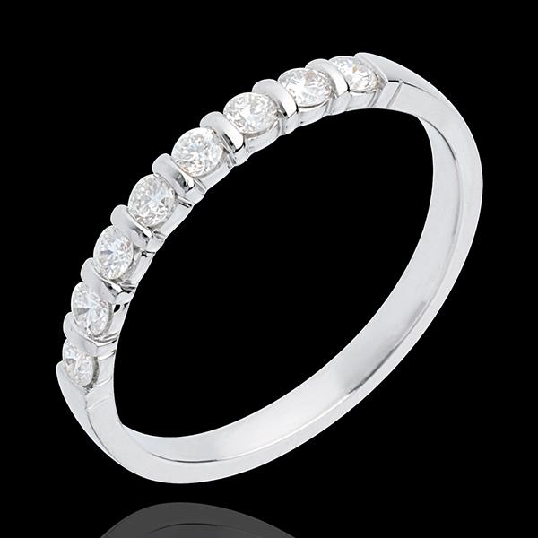 Half eternity ring white gold semi paved-bar prong setting - 0.3 carat - 8 diamonds