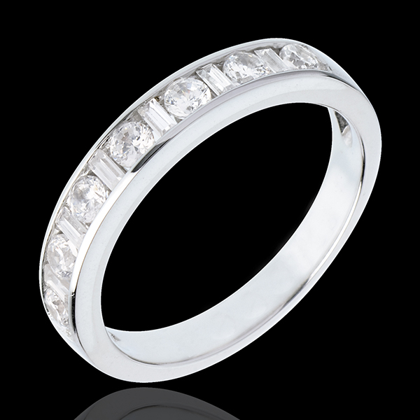 Half eternity ring white gold semi paved-channel setting - 0.57 carat - 13 diamonds