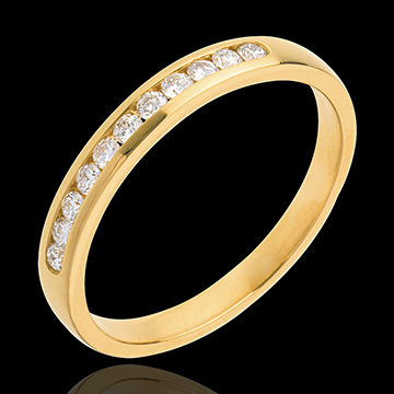 Half eternity ring yellow gold paved-channel setting - 11 diamonds