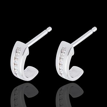 Half-moon earrings paved white gold - 12 diamonds