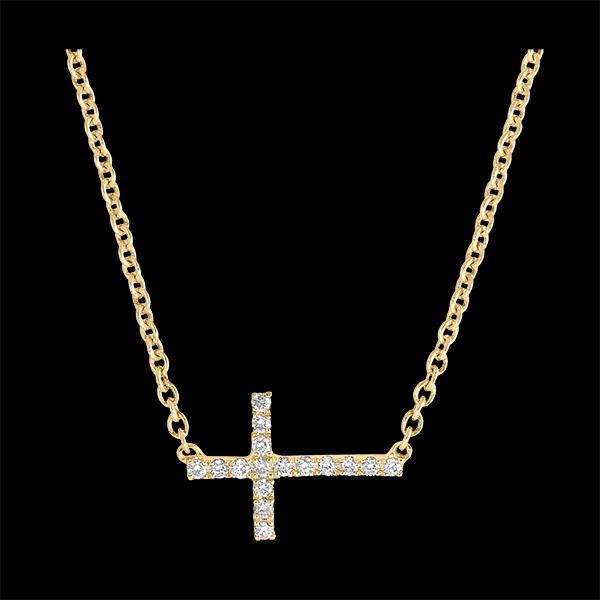 Halskette Frische - Kreuz - 18 Karat Gelbgold und Diamanten