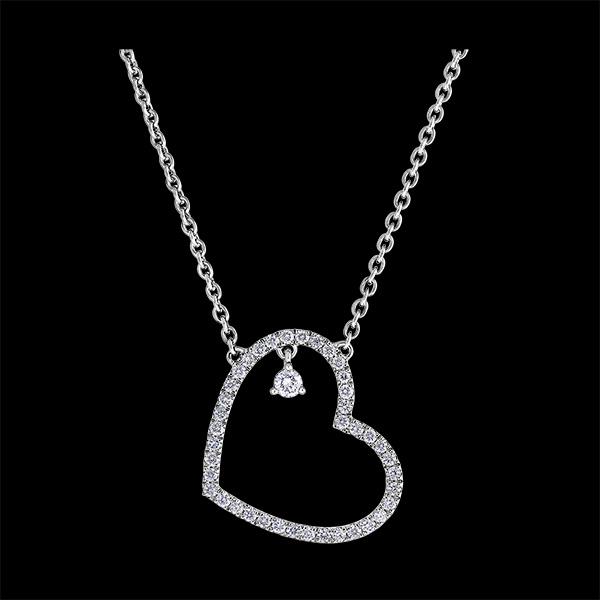 Halskette Kostbares Geheimnis - Geneigtes Herz - 9 Karat Weißgold und Diamanten