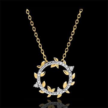 Halskette Kranz Verzauberter Garten - Königliches Blattwerk - Gelbgold und Diamanten - 18 Karat