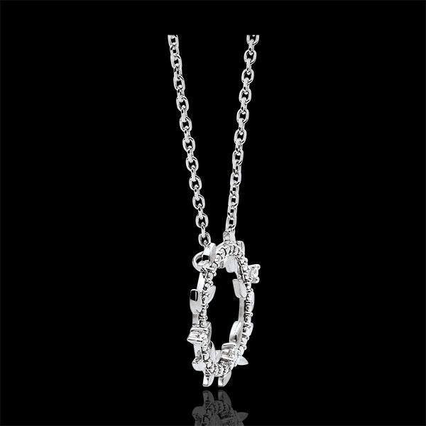 Halskette Kranz Verzauberter Garten - Königliches Blattwerk - Weißgold und Diamanten - 9 Karat