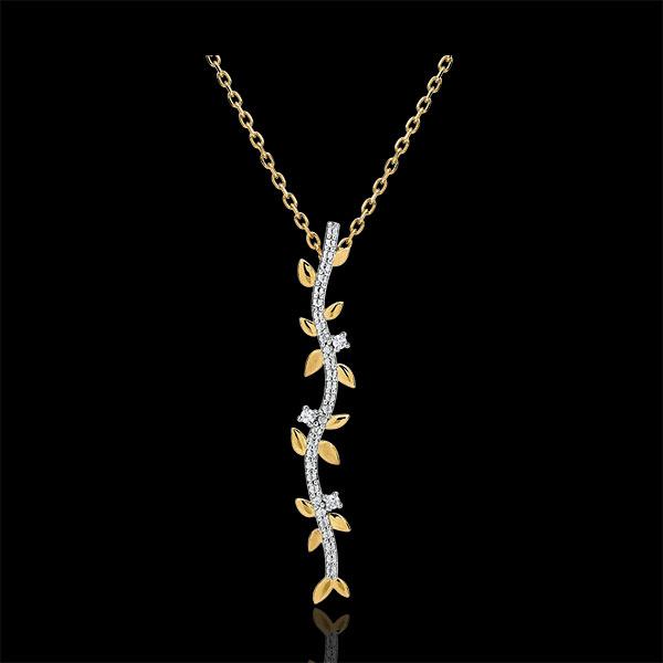Halskette Stab Verzauberter Garten - Königliches Blattwerk - Gelbgold und Diamanten - 9 Karat