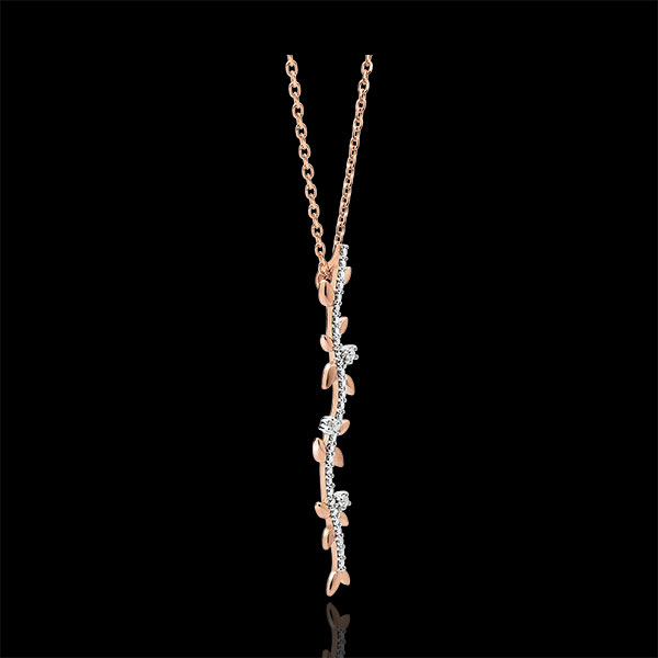 Halskette Stab Verzauberter Garten - Königliches Blattwerk - Roségold und Diamanten - 9 Karat