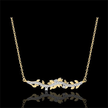 Halsketting Verrukte Tuin - Loof Royal - geel goud en diamanten - 18 karaat