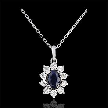 Halsketting Eeuwige Edelweiss - Marguerite Illusie - saffier en diamanten - wit goud 9 karaat