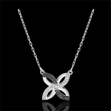 Halsketting Frisheid - Zomerbloem - wit goud en zwarte diamanten